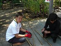 インターンシップ実習 竹を加工している生徒